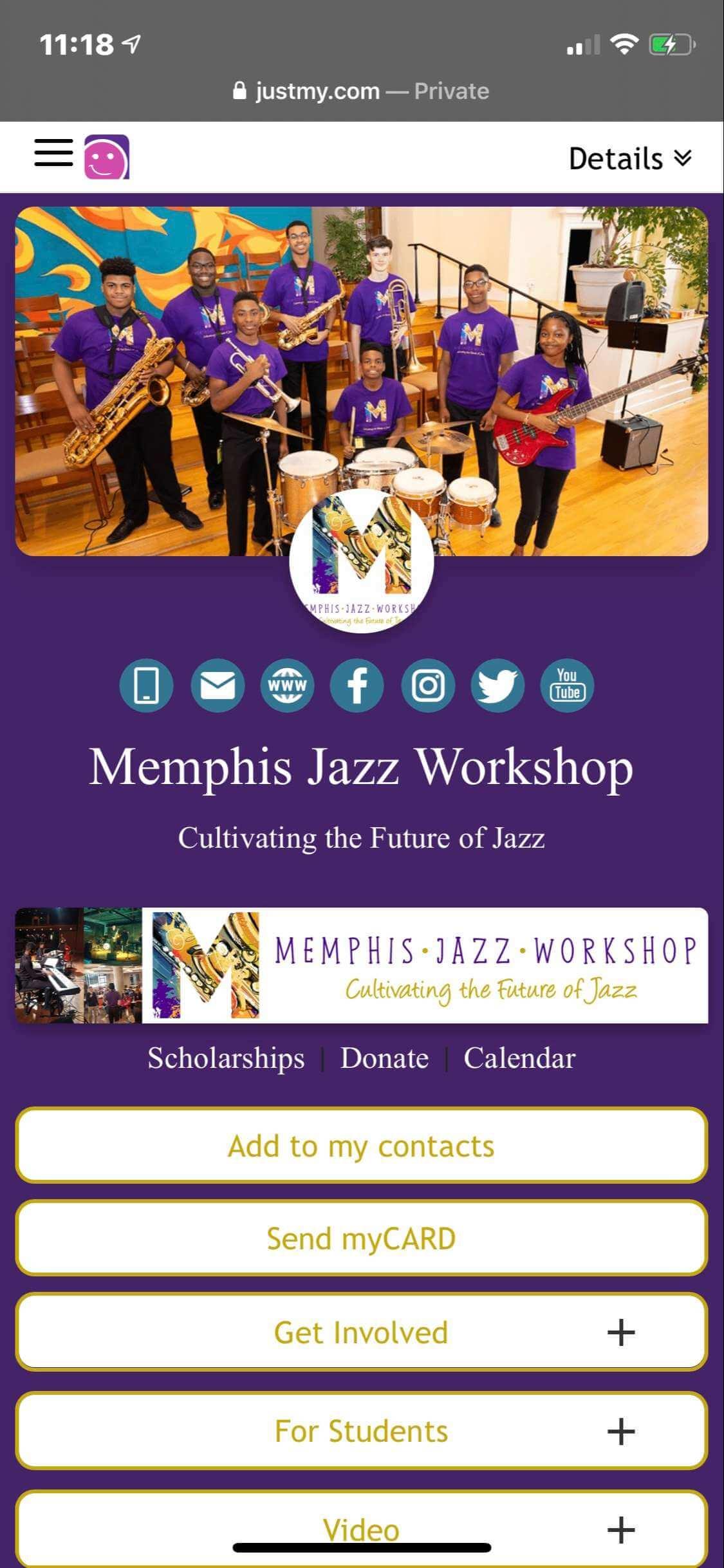 #grabmyCARD  Memphis Jazz Workshop